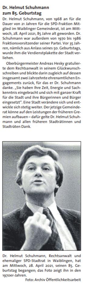 Dr. Helmut Schuhmann
